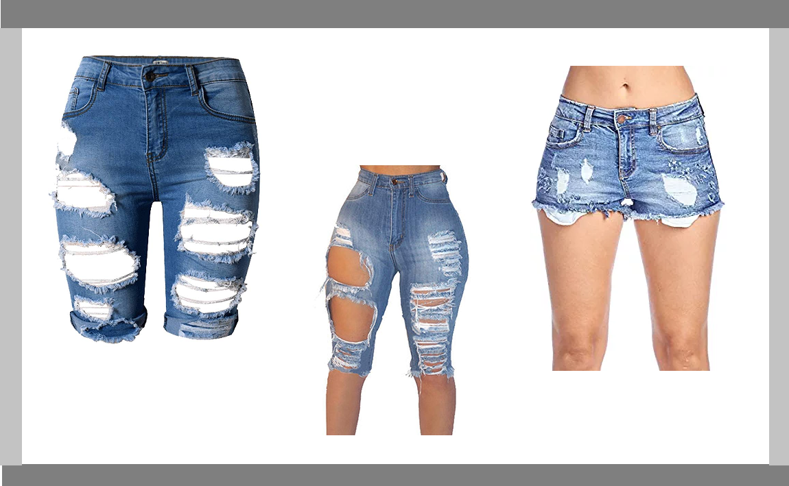 ripped, distressed or destroyed short jeans